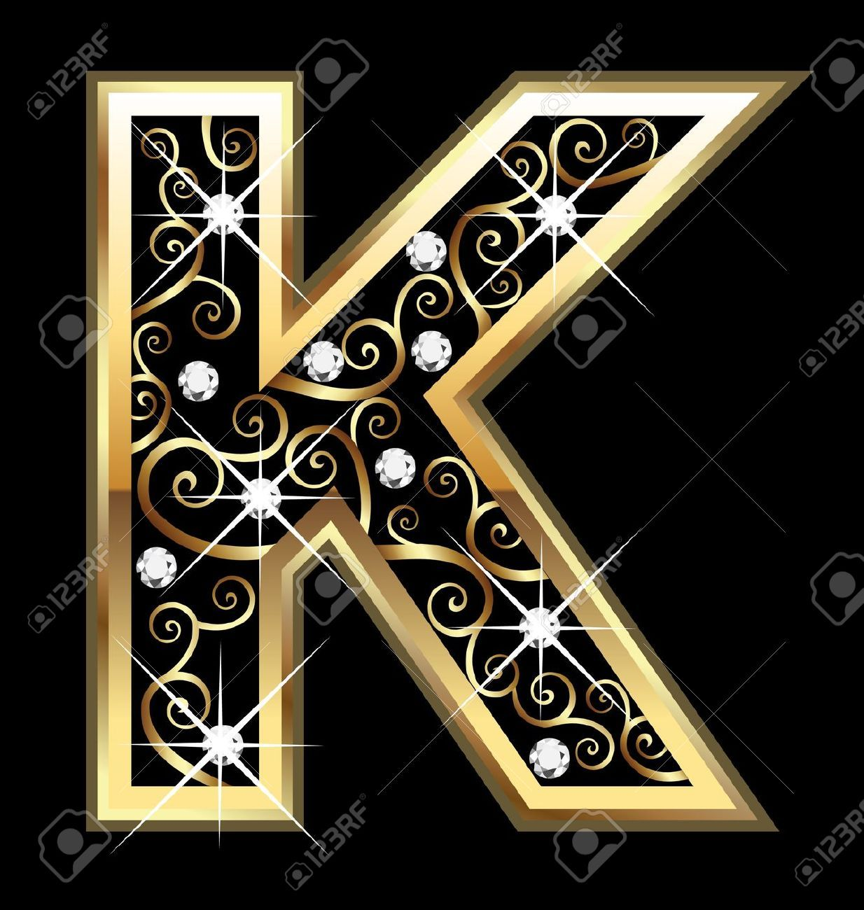 K gold letter with swirly ornaments royalty free cliparts vectors art clipart biocorpaavc