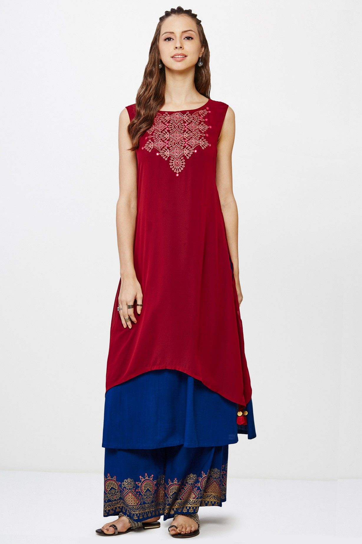1d19e8400ab Global Desi Navy Embroidered Kurta | Ethnic | Global desi, Desi, Indian wear