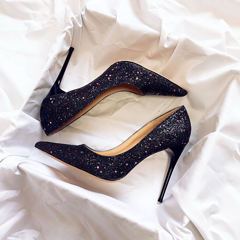 Sparkly Starry Sky Black Wedding Shoes 2019 Leather Sequins 10 Cm Stiletto Heels Pointed Toe Wedding Pumps Black Wedding Shoes Stiletto Heels Heels