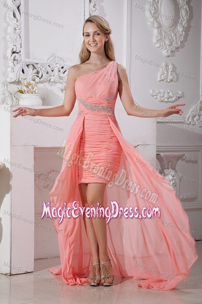 79423706566 One Shoulder High-low Watermelon Red Evening Dress under 150