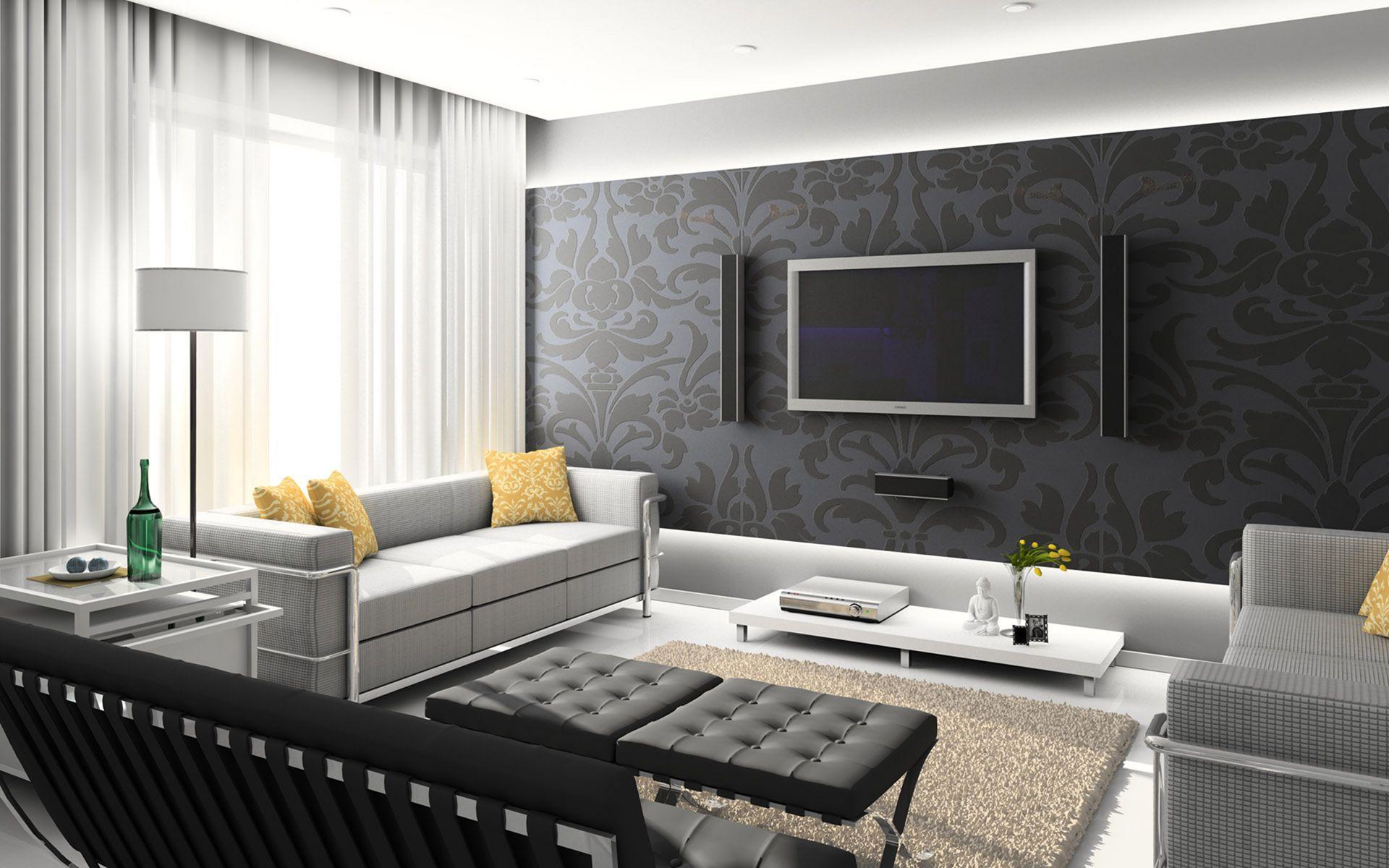 10 Interesting Living Room Wallpaper Design Ideas For Make Comfortable Guest Gray Living Room Design Modern Living Room Set Interesting Living Room