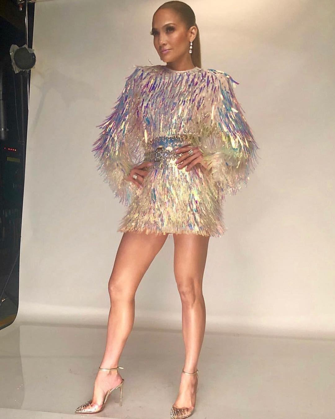da577988ee0 Jennifer Lopez wore a Balmain mini dress while shooting ads for NBC's World  of Dance.