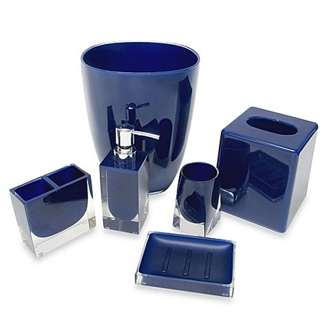 decorate your bathroom with the clean sleek lines of this memphis bath accessory collection a - Blue Bath Accessories