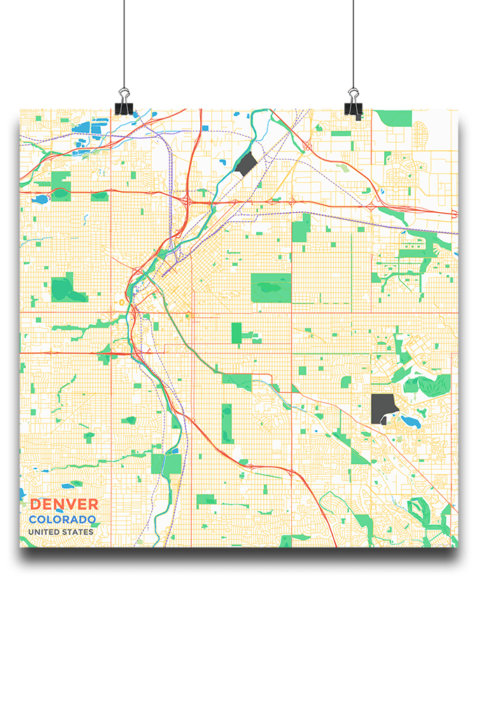 Premium Map Poster Of Denver Colorado Subtle Colorful Unframed