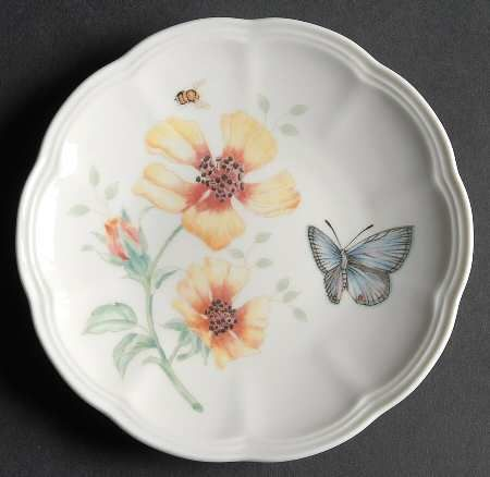 Kitchen Plates Timer Butterfly Amazon Com Lenox Meadow Bone Porcelain Party Plate