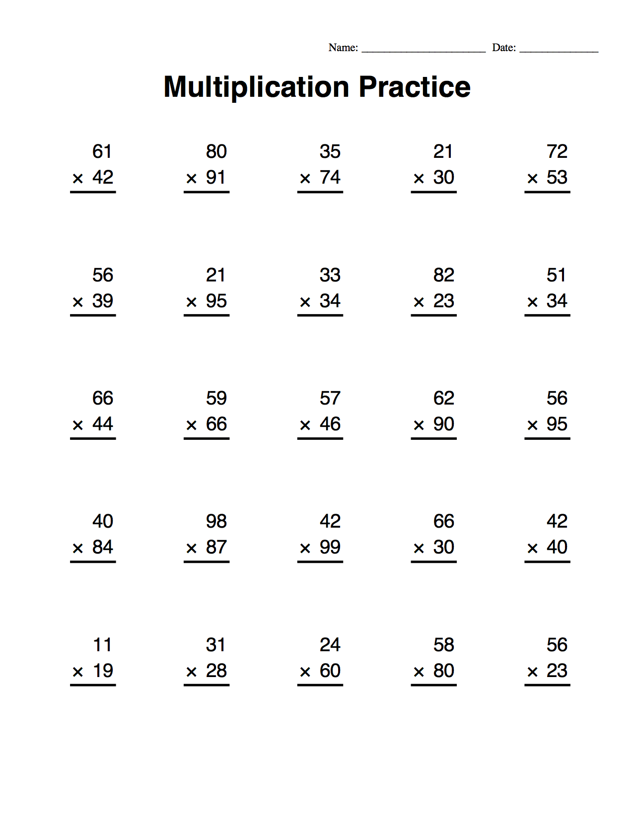 Multiplication Worksheets With Images
