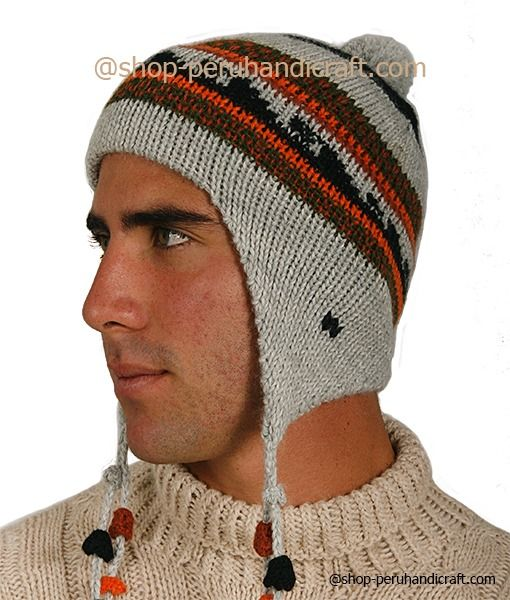 1d3ef4b5fd2 This winter grey hat is hand crocheted in Peru with 100% alpaca wool in  natural