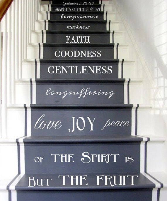 Vinyl Decal Fruit Of The Spirit Stair Decals Galatians 5:22 23 Stair Riser Decal  Staircase Sticker Christian Art Spiritual Decor KJV