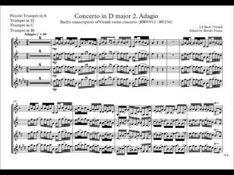 Accompaniment Bach Bwv972 Vivaldi Concerto In D Major 2 Adagio