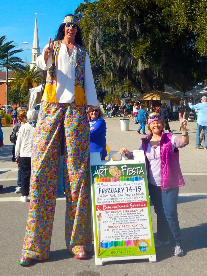 Hippie Stilt Walker At The 2017 Art