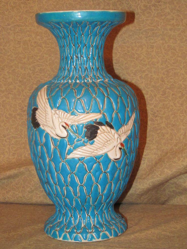 Antique Japanese Moriage Or Satsuma Ceramic Vase With Cranes Ebay