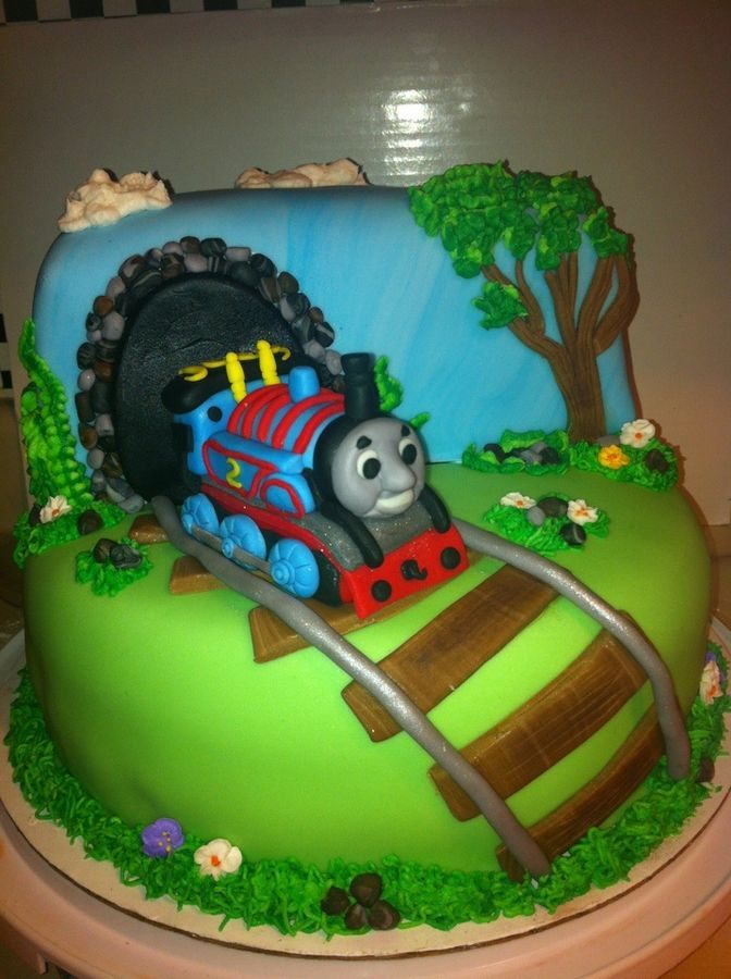 combine this idea with other cake - just 2-d thomas at tunnel entrance