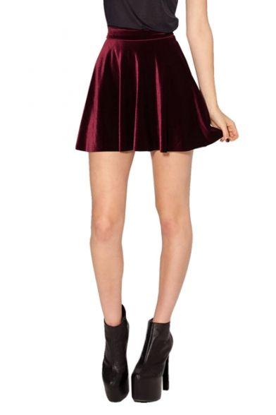 cb99a5b08 Burgundy Club Style Mini Velvet Skater Skirt | Clothes | Black ...