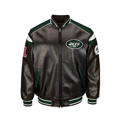 best website 5a84a d9e67 NFL Faux Leather Varsity Jacket - Jets | Pamela Zampella ...