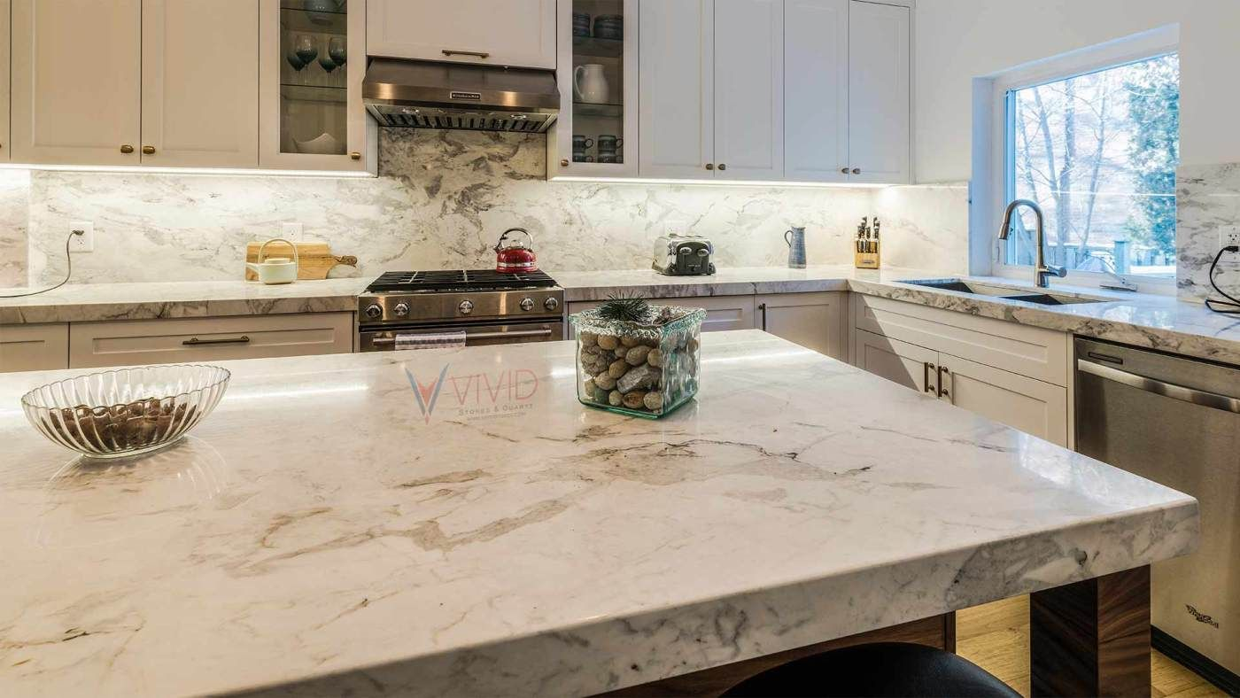 Matarazzo Quartzite Kitchen Island   Vivid Stones & Quartz Inc ...