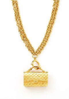 Chanel Gold Tone Vintage Multi strand Handbag Necklace
