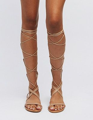 08e652e0c726 Lace-Up Knee-High Gladiator Sandals  Charlotte Russe