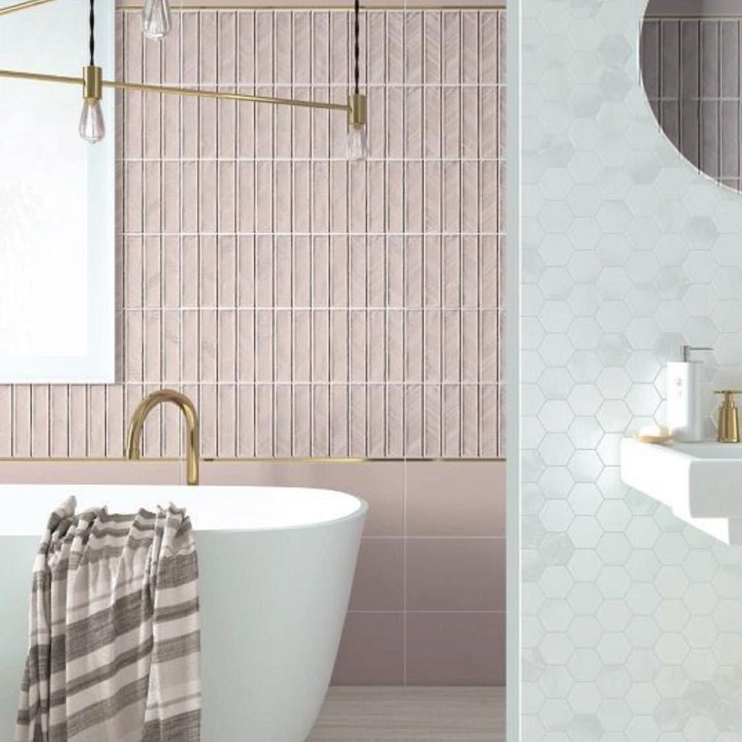 This Is How Pink Should Be Used Mixed With Brass And Carrara Marble Hex Palepink Marble Carrara B Marble Bathroom Floor Marble Bathroom Amazing Bathrooms