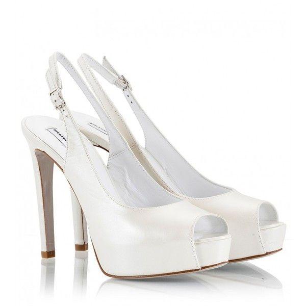 Pearl-white leather high heel platform