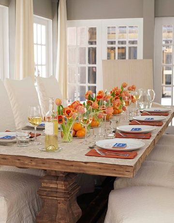 Ina Garten's spring table with orange tulips