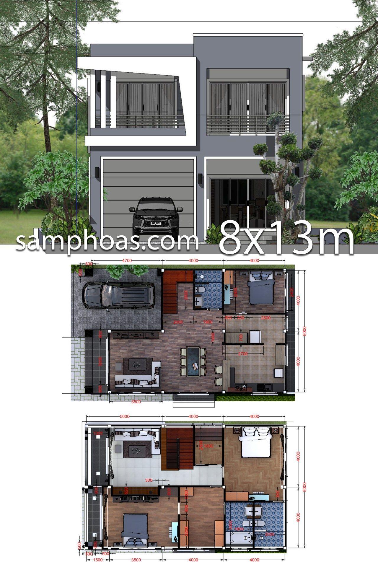 Plan 3d Interior Design Home Plan 8x13m Full Plan 3beds Samphoas Plan Interior Design Plan 3d Interior Design House Plans