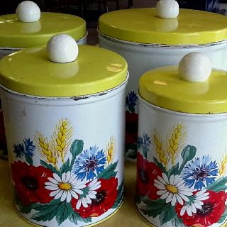Vintage yellow canisters
