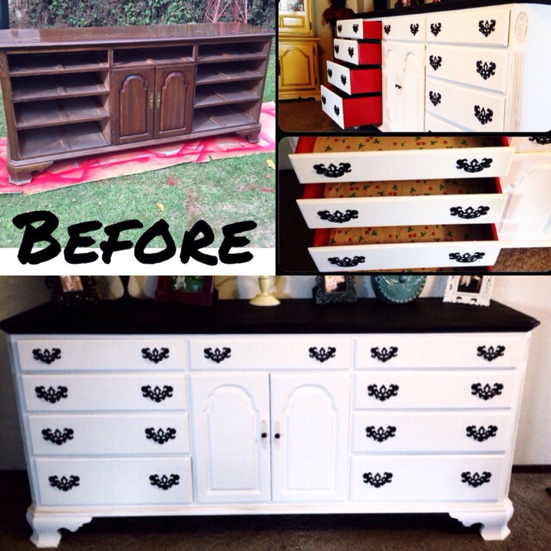 Diy Dresser Makeover Homemade Chalk Paint Black White Pop Of
