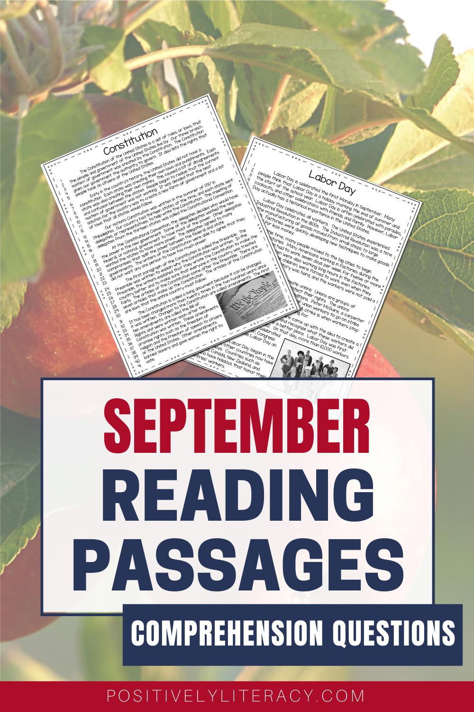 September Reading Passages Nonfiction Text Questions Nonfiction Texts Elementary Reading Reading Passages [ 1500 x 1000 Pixel ]