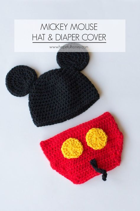Mickey Mouse Inspired Hat & Diaper Cover Crochet Pattern   Baby ...