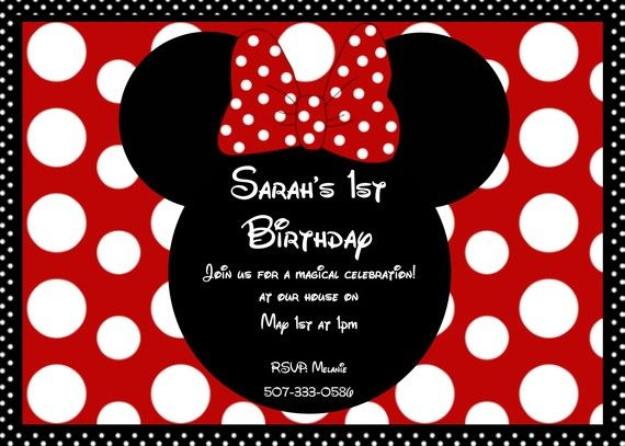Minnie Mouse Invitations Girls Ct Minnie Mouse Red Polka Dot Bow
