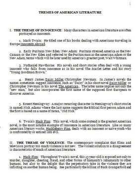 Major Theme Of American Literature Handout Teaching Research Paper Topics Topic