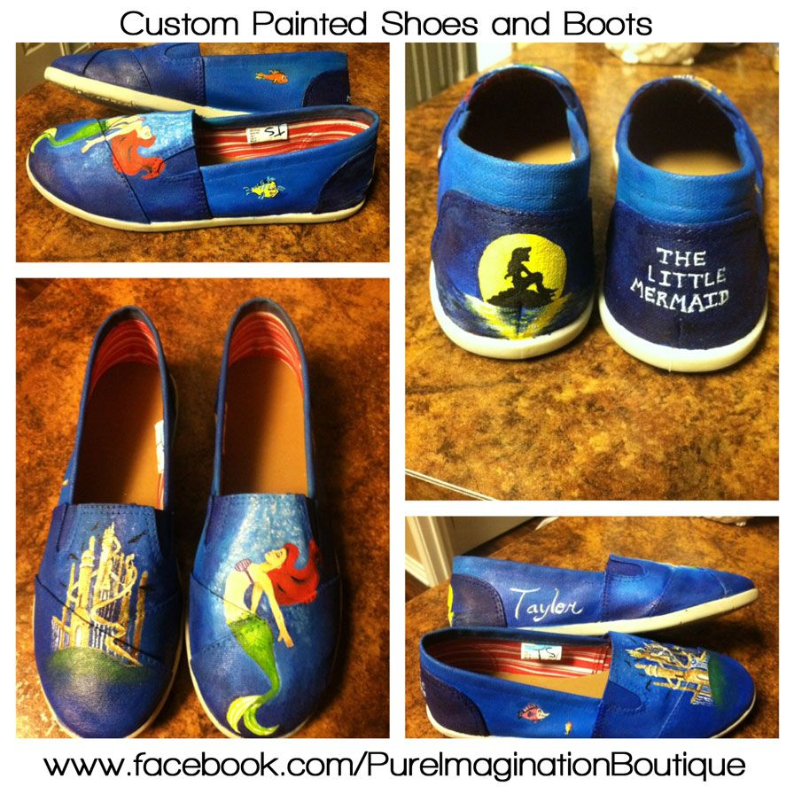 e8e07449d069 Disney s Little Mermaid Painted Shoes - If interested in having a custom  pair created