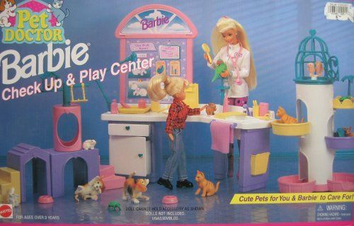 Pet Doctor Barbie Check Up Play Center Playset 1996 Arcotoys Mattel By Arcotoys Mattel 169 99 Barbie Playsets Barbie Childhood Toys