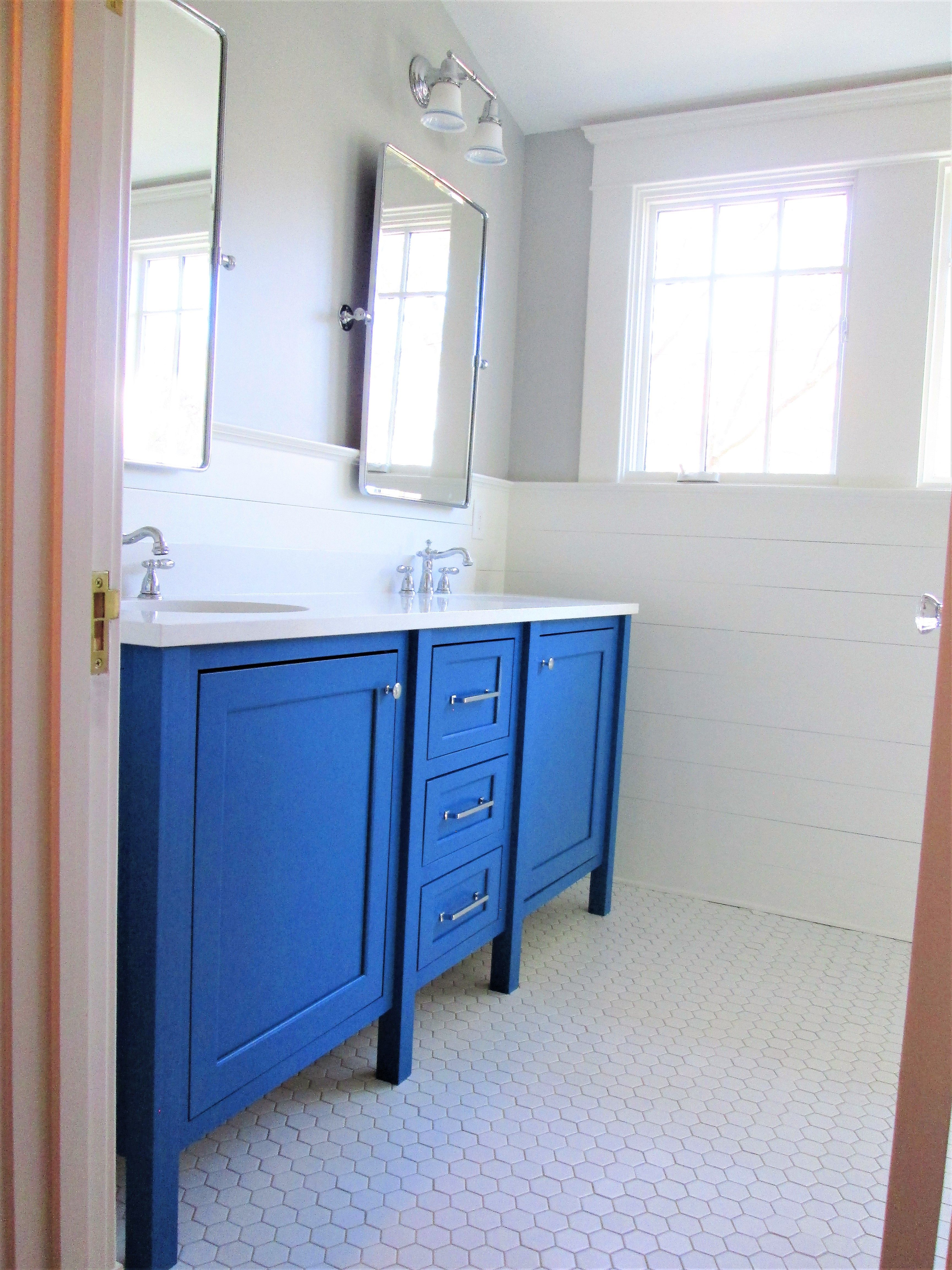 Small bath remodel in blue and white with blue custom vanity, white ...