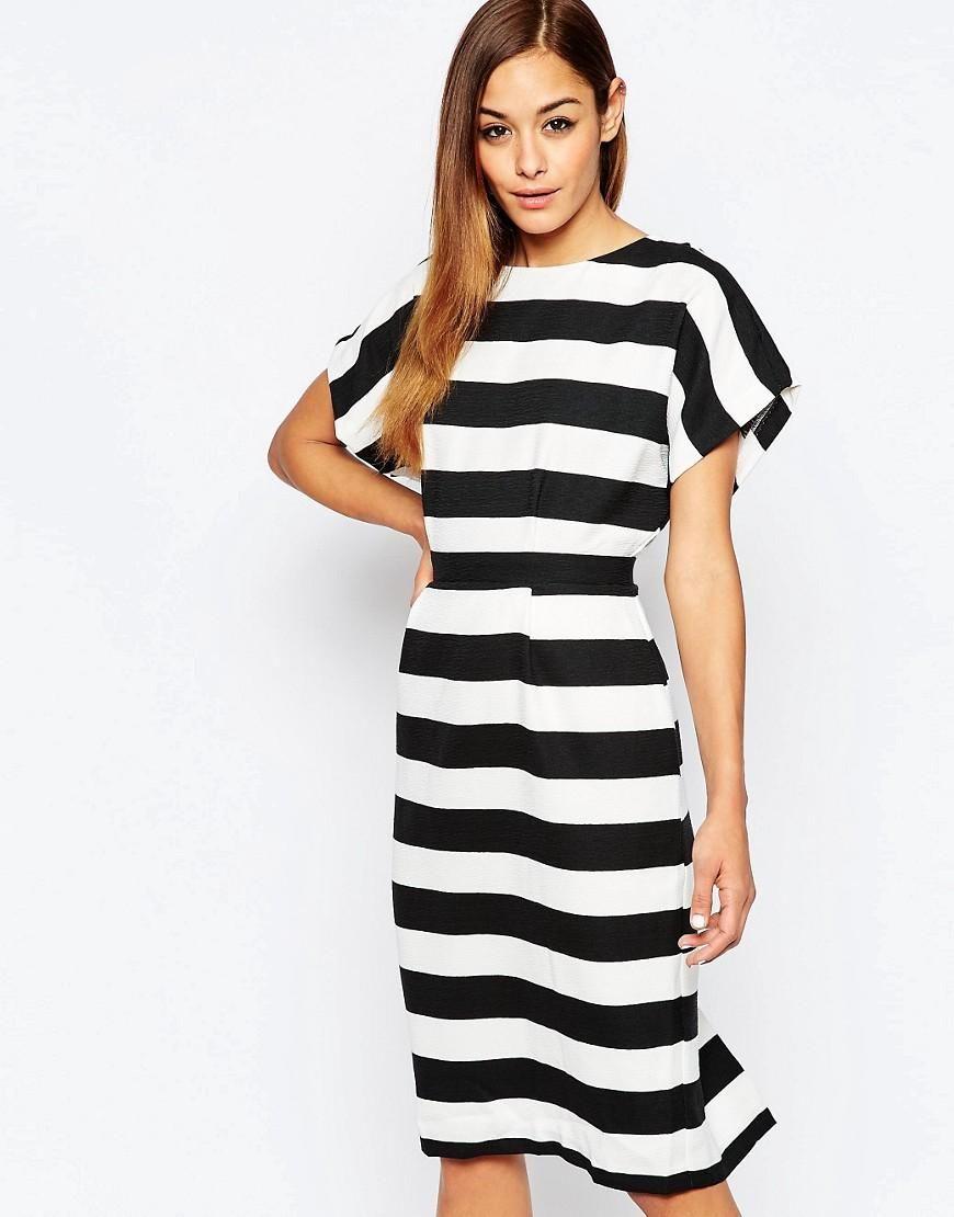 ASOS | ASOS Soft Open Back Pencil Dress in Stripe at ASOS