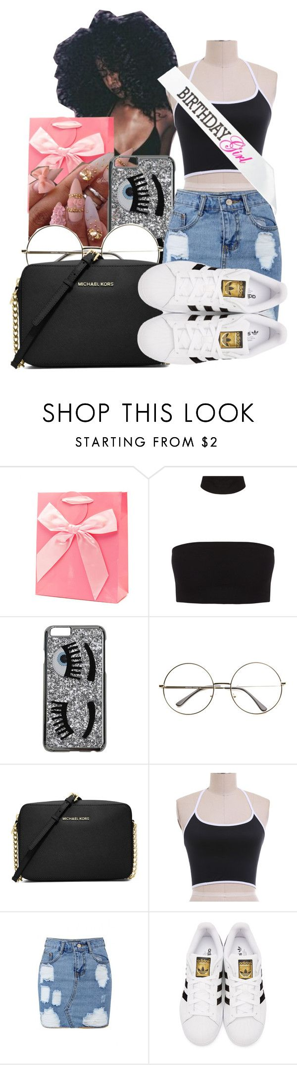 """Outfit For BDay Dinner 👑💸🚺🎉"" by shamyadanyel ❤ liked on Polyvore featuring Chiara Ferragni, MICHAEL Michael Kors, WithChic and adidas Originals"