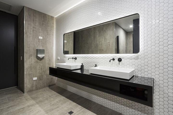 Office Bathroom Designs Gorgeous Harris Hmc Officeshot Black Interiors Melbourne  Australia Inspiration Design