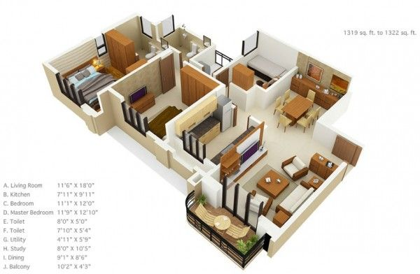 3 Bedroom Apartment House Plans With Images Small House Floor