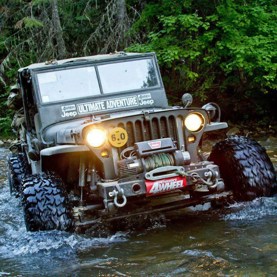 Jeep Willys MB Water Fording A Creek.