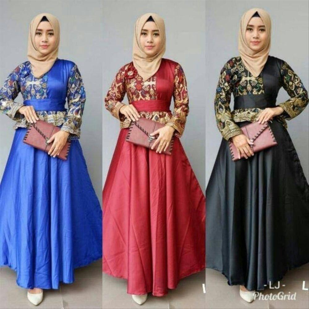 Model Gamis Batik Terbaru Untuk Pesta di 8  Model pakaian