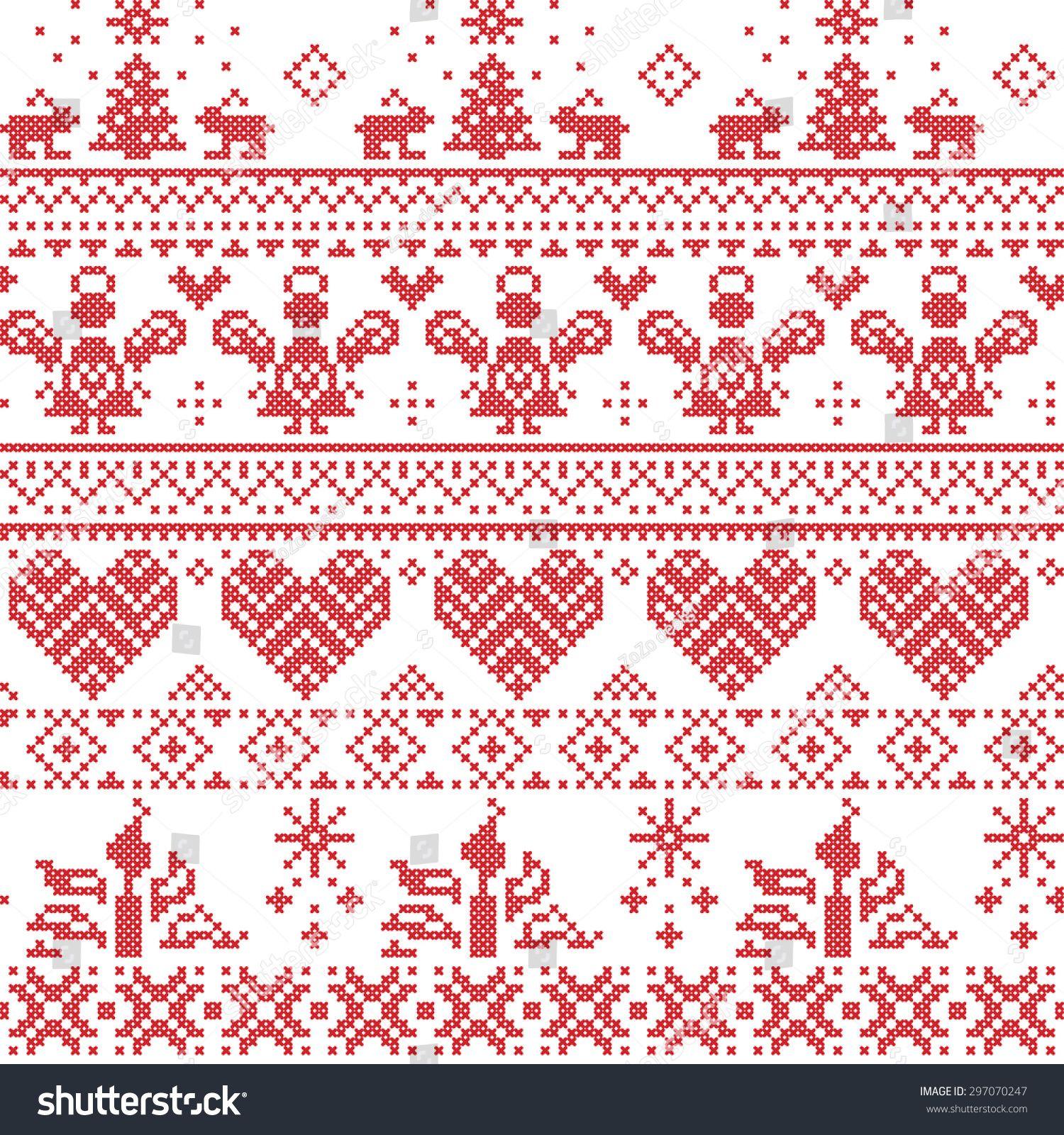 Scandinavian Nordic Christmas Seamless Cross Stitch Pattern With Angel Scandinavian Cross Stitch Cross Stitch Border Pattern Scandinavian Cross Stitch Patterns