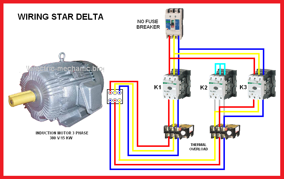 star delta motor connection diagram elec eng world art odjo rh pinterest com delta star motor starter wiring diagram electric motor star delta wiring diagram