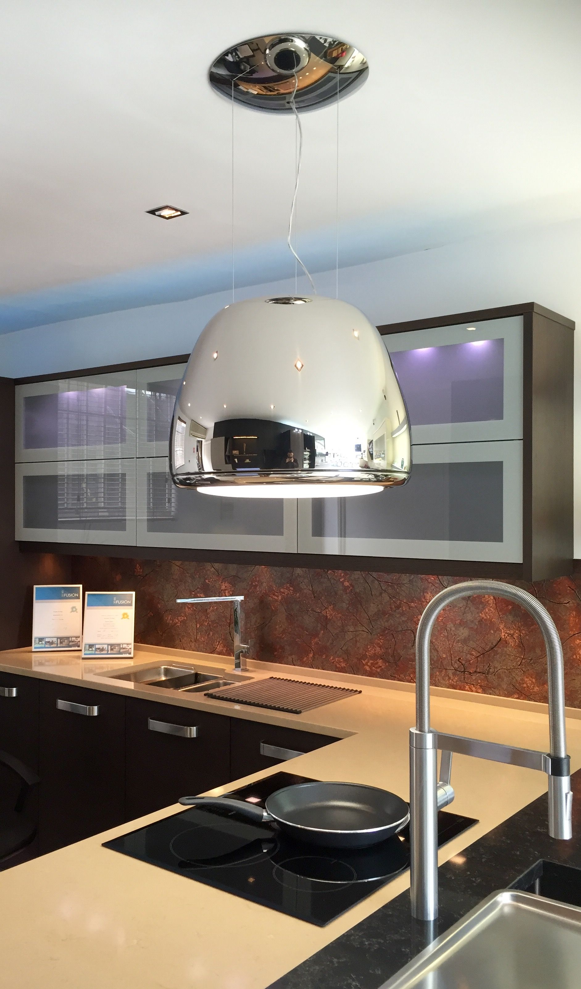 This stylish recirculating chandelierextractor hood and by elica is this stylish recirculating chandelierextractor hood and by elica is the latest addition to our arubaitofo Choice Image