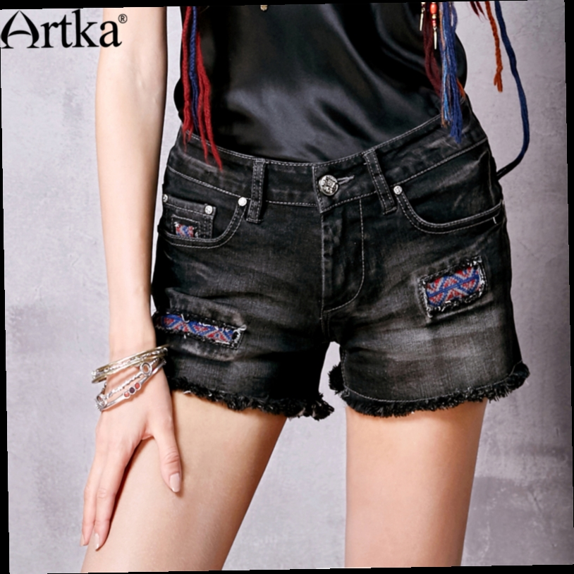 43.98$  Buy here - http://alin7b.worldwells.pw/go.php?t=32688291236 - Artka Women's Summer New Solid Color Denim Shorts All-match Fashion Embroidery Straight Shorts KN15063C