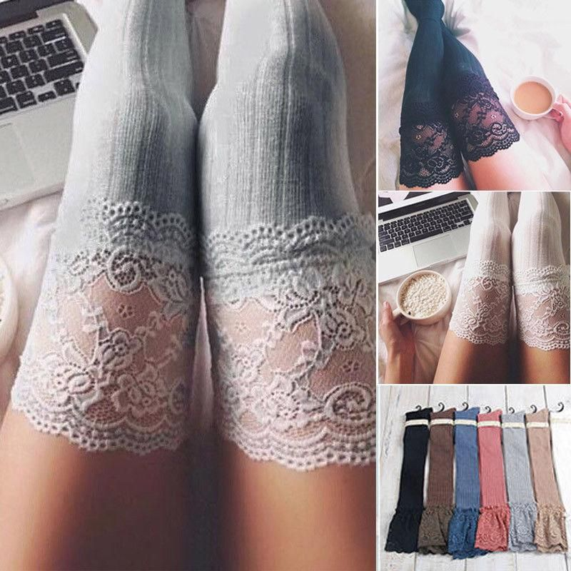 Ladies fancy Pointelle above knee stockings with lace cotton thigh high hold ups