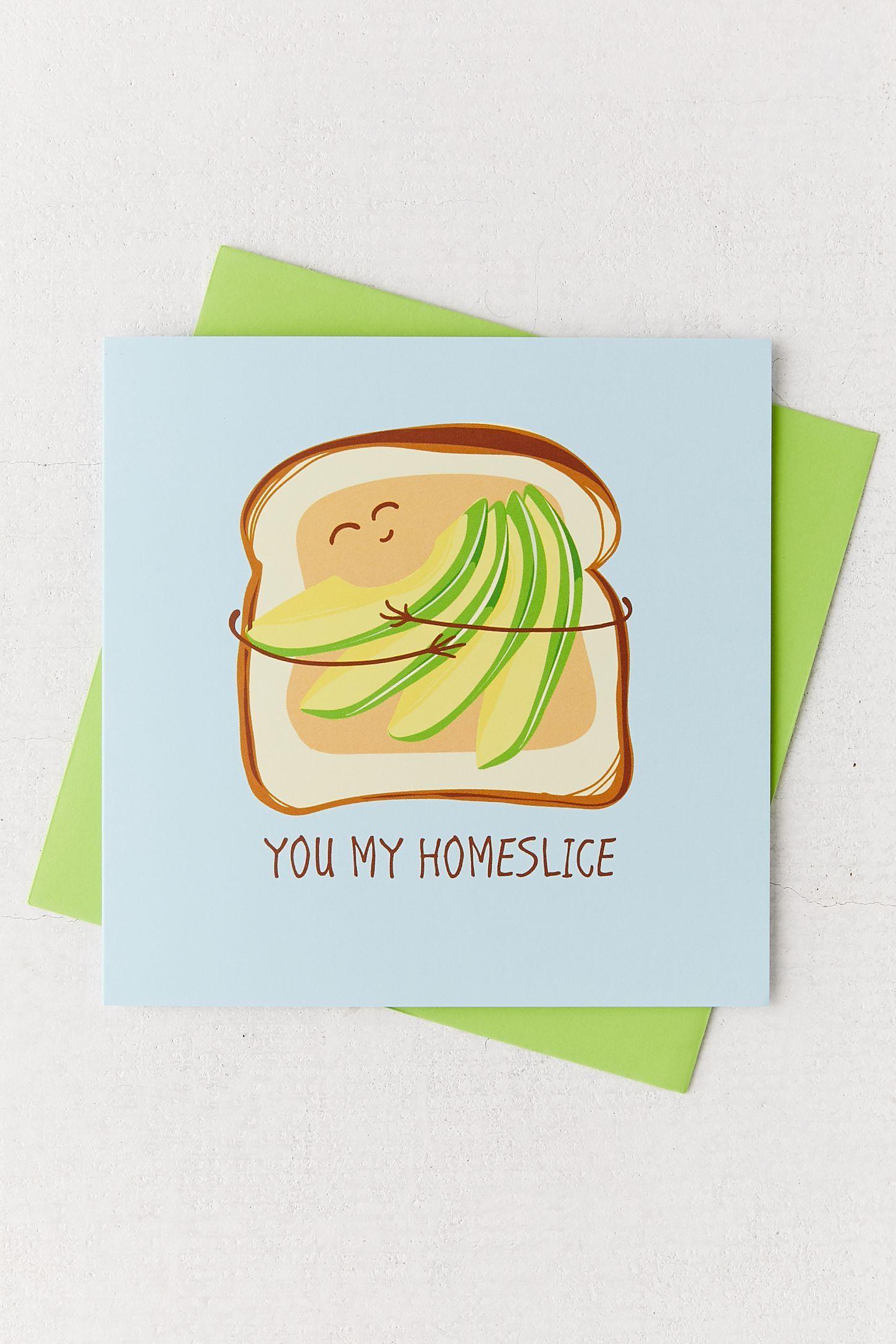 avocado slice greeting card  valentine day cards
