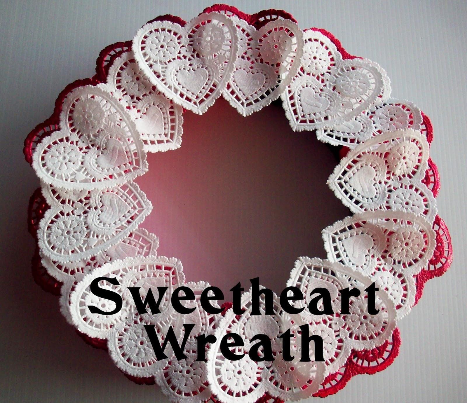 DIY  DOILY CRAFTS : DIY Valentine Doily Wreath