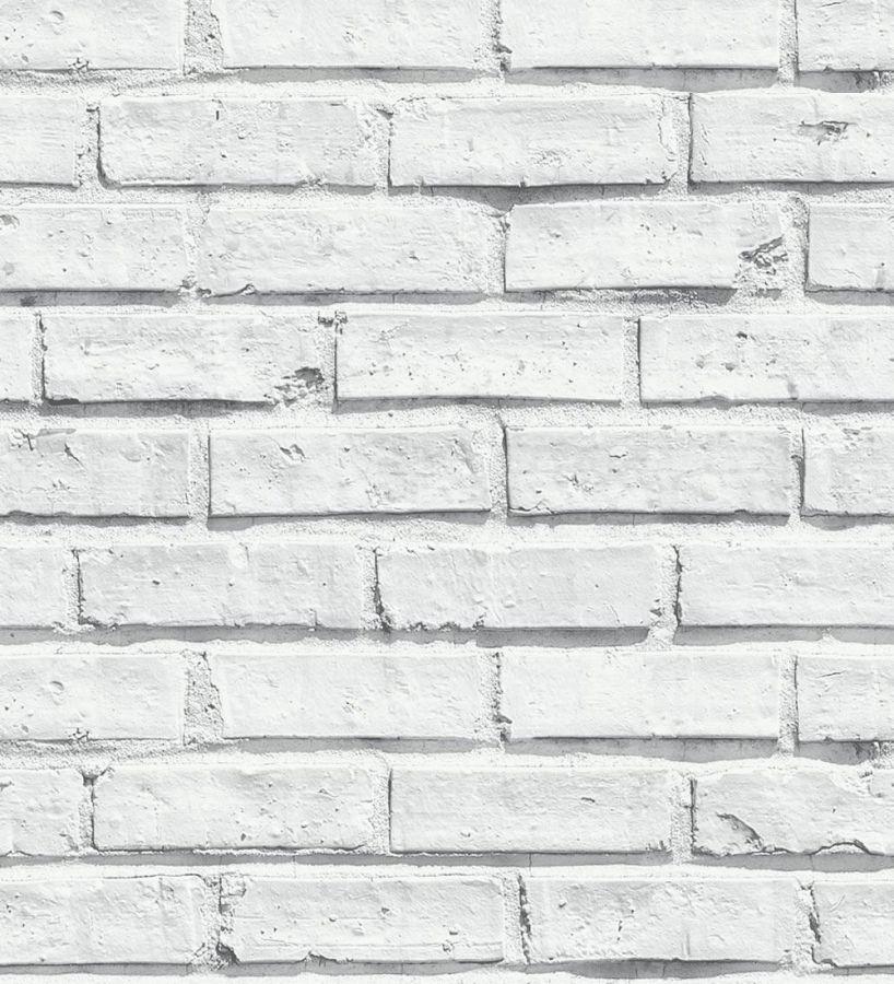 papel pintado que recrea una pared de ladrillos blanca realista con efectos de sombras naturales es ideal para decoraciones industriales o basadas en los - Pared Ladrillo Blanco