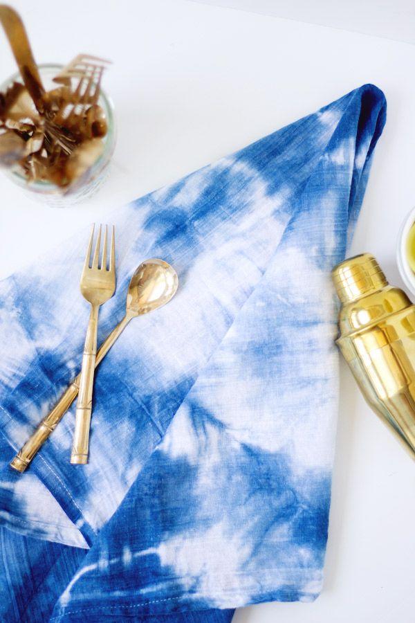 DIY Indigo Shibori Dyed Kitchen Towels | Lovely Indeed