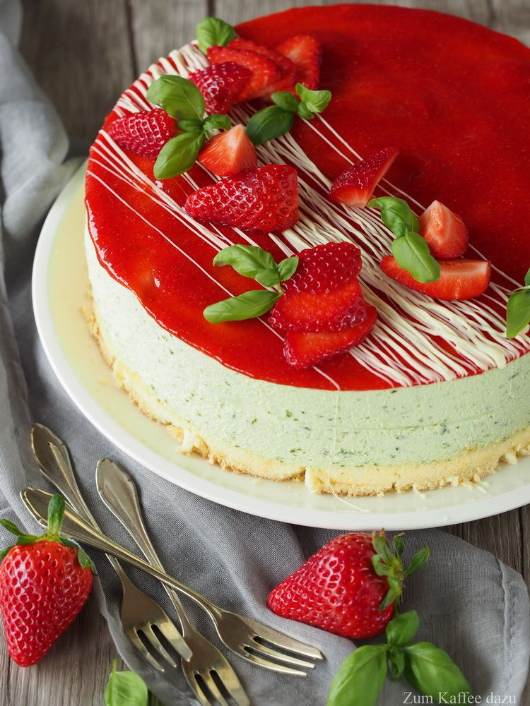 Photo of The first prank or strawberry and basil cake – with coffee
